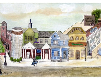 GRADUATION - Truman Univ. Kirksville Missouri *** Double Matted Watercolor Painting Collage  ***