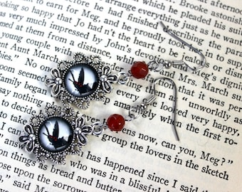 Dark Butterfly Cabochon Earrings with Carnelian Beads - Victorian Vintage Style