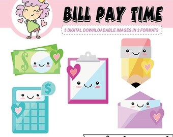 50%off Digital Download, Kawaii Bill Pay Icons, clip art, kawaii clipart, bill pay digital stickers, can be used digital planning