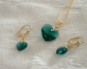 Emerald Swarovski Crystal Pendant & Earring Set