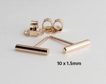 Gold Bar Earrings, Tiny Bar Studs, Goldfilled Studs, Handmade Studs, Bar Studs, Gold Stick, Everyday Earrings, Line Earrings, 10 x 1.5mm