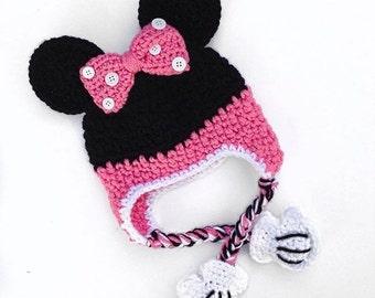 Crochet Minnie Mouse beanie, Minnie Mouse beanie, Minnie Mouse hat, minnie, hat, beanie, disney, disneyland, minnie ears