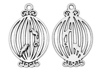 10 Antique Silver Metal Alloy Balloon Style Birdcage Charms 33x21mm (B200f)