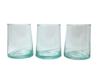 FREE SHIPPING Moroccan Stemless Hand-Blown Wine Glasses, Clear Short (Set of 6)