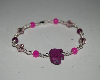 Artistic Wire Wrap Style Purple Lucky Elephant Swarovski Crystal Little Girl Bracelet