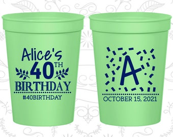 40th Birthday Cups, Personalized Birthday Cups, Monogram Birthday Cups, Birthday Cups (20258)
