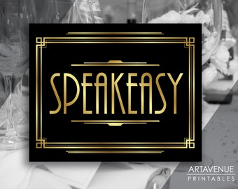 Gatsby Party Speakeasy Printable Sign, Gatsby Wedding, Roaring Twenties Party Decor, Art Deco Party Supplies - Black and Gold - ADBG1