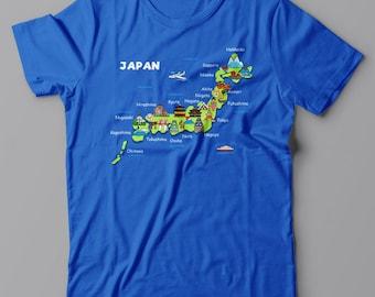 JAPAN MAP T shirt - funny Tee shirt, Anime, Tokyo, Manga