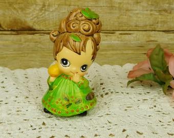 Joseph Originals Big Eyes Girl Figurine Green Dress Brown Hair 1960s Mod Moppet