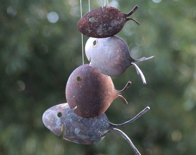 Spoon Fish Mobile Rustic Christmas Gift Idea, Gardener Wind Vintage Silver Plate, Antique Flatware, Christmas Yard Decor, Fall Leaf Wall Art