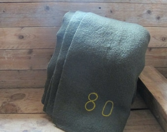 Vintage French Army Green Wool blanket mid century