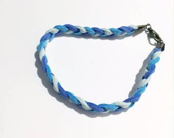 Braided suede bracelet shade of blue