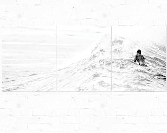 Wave Art, Triptych, Ocean Photography, Surf Photography, Black And White, Ocean Art, Wall Art, Monochrome, Minimal Art, Aluminum Hanging