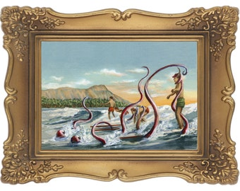 Surf Monster- Signed and Numbered Giclee Print - Edition Limited to 50 - Unframed