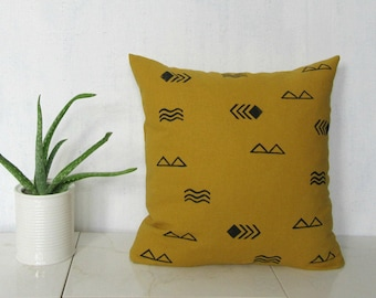 Mustard Linen Pillow Cover with Black Symbol Print / Decorative Throw Cushion Bedding Accent Block Printed Yellow Flax Heiroglyphics Minimal