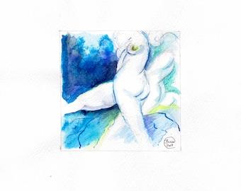 Blue Nude 03-nude-Watercolour-drawing-Aktgemälde-nude art-nude painting-Unique