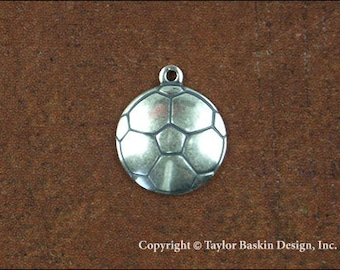 Soccer Ball Jewelry Scrapbooking Charm Finding in Antique Silver Plate (item 1523 AS w/loop) - 6 Pieces