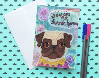 Funny Anniversary Card, Just Because Cards Funny, I Miss You Card, Anniversary Card Her, Best Friend Card, Last Minute Anniversary, Pug Dog