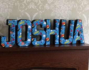 Superhero bedroom decor, personalised fabric letters, 3d padded wall art, photography prop, keepsake new baby, christening, birthday  gift