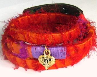 Sari Silk Wrap Bracelet, Boho Wrap Bracelet, Silk Wrap Bracelet, Bohemian Jewelry Flame