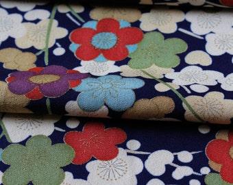 Vintage Kimono Silk, Kimono Fabric, Blue Silk Kimono, Cherry Blossom Fabric, Cherry Blossom Kimono