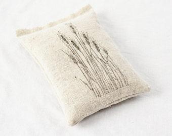 Wheat Grass Botanical Sachet, Rustic French Country Pillow Sachet, Natural Home Decor