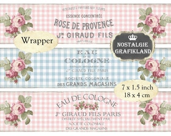 Shabby Chic Perfume Soap Wrapper Wrapping Strips Pink Blue Soap Packaging Instant Download digital collage sheet E049