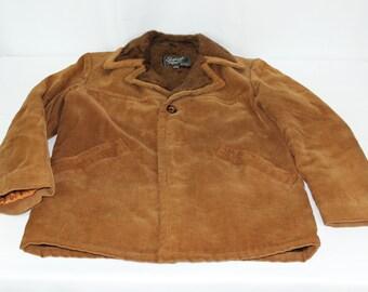 English Squire Vintage Size 38 Men's Brown Corduroy Faux Vegan Fur Lined Jacket