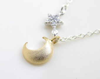 Golden Crescent and Silver Star Stud Necklace ~ Moon and Tiny Zirconia Star Dangle ~ Make a Wish ~ Gift for Her ~ Simple Modern Jewelry