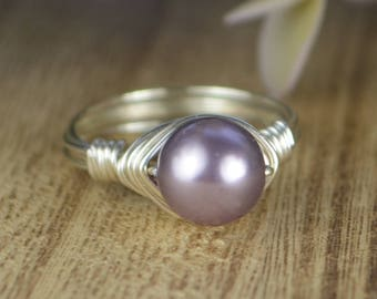 Sale! Mauve Swarovski Pearl Wrapped Ring- Sterling Silver, Yellow or Rose Gold Filled Wire - Any Size 4 5 6 7 8 9 10 11 12 13 14