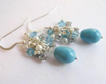 Turquoise Teardrop Pearl Cluster Earrings, Faux Pearl Drop Earrings, Bridal Jewelry, Turquoise Blue Pearl and Crystal Earrings