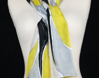 Yellow Silk Scarf. Black & White Hand Painted Silk Shawl. Handmade Silk Scarf POLAR SUNRISE.  Size 8x54. Birthday, Mother Gift. Gift-Wrapped