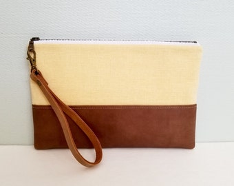 Canvas and Leather Wristlet Clutch, Smartphone Wristlet, Leather Clutch, iPhone Wristlet, Free Shipping