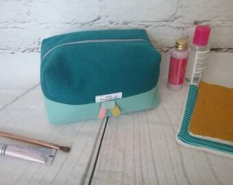 Toiletry bag / makeup two-ply cotton gauze.