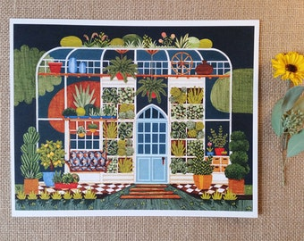 "Greenhouse Print, Garden Art, Illustrated Greenhouse, 8"" x 10"" Art Print"