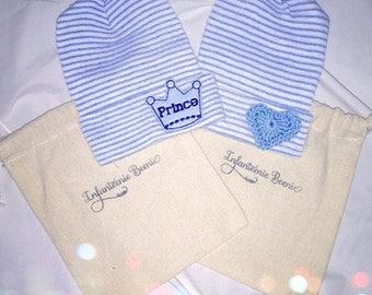 SAVE w/ 2!  baby boy gift set - newborn hospital hat - newborn hospital hats for baby boys - prince and heart baby boy hats