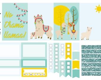 Drama Llama, mini sticker kit, one sheet kit, weekly kit, planner stickers, weekly sticker kit, erin condren, happy planner, planner kit