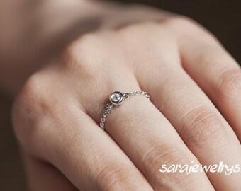 14K Diamond chain ring, Solitaire diamond chain ring, Bezel diamond ring, Engagement diamond ring/1 diamond weight 0.05carat
