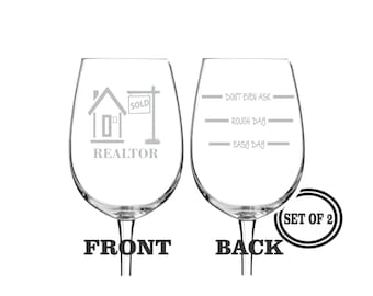 2 REALTOR ETCHED Wine Glasses Set of 2 Engraved Wine Glasses Gift for Realtor Funny Wine Glasses Gift Toasting Glasses Cocktail Glass