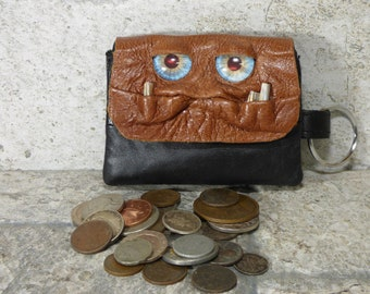 Zippered Coin Purse Brown Black Leather Change Purse Monster Face Pouch Key Ring 239