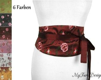 Corsagengürtel, XS, S, M, L, XL, XXL, waist belt, wide belt, fabric belt, Binder belt, obi, festive, floral, embroidered, Bordeaux