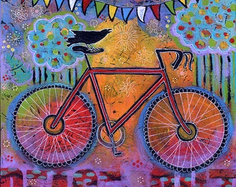 Vivid Color, Bicycle Art Print, Raven, Bicycle Wall Art, Home Decor by Lindy Gaskill