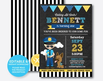 Instant Download, Editable Police Birthday Invitation, Police Boy Invitation, Police Invitation, Police Dog Invitation, Chalkboard(CKB.526B)