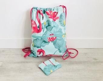 Mochila, flamencos, mochila saco, mochila joven, tela flamencos, regalo, azul marino, bolsa playa, bolsa gimnasio, monedero, cordón, mujer