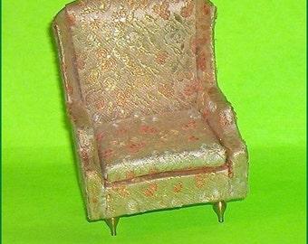 SPECIAL SALE   Gold Color Salon Wing Chair  Vintage Petite Princess  Dollhouse Furniture