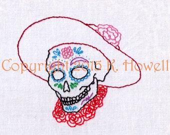 Day of the Dead, Hand Embroidery Pattern, Female, Sugar Skull, Dia De Los Muertos, Skull, Decorated, PDF