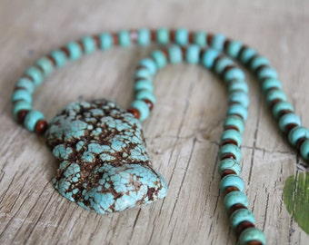 Light Blue Magnesite Chunk Stone Pendant Necklace with Wood Beads / Chunky Necklace / Turquoise Jewelry / Gifts for Her / Gifts for Women