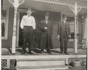 Old Photo Men on House Porch Hats Coat Suits 1910s Photograph snapshot vintage