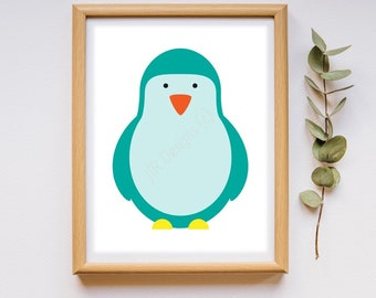 Blue Penguin Digital Print - Instant Download