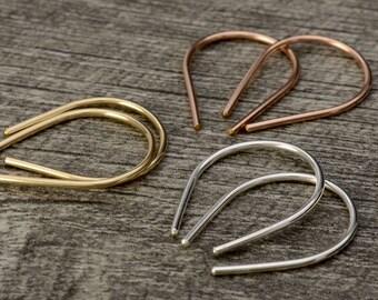 Open Hoop Earrings - U Shaped Threader Earrings in Silver Gold and Rose Gold - Minimalist Jewelry Teardrop Earrings